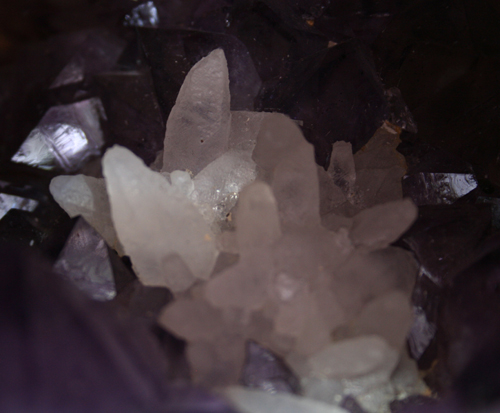 white calcite on amethyst