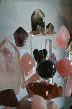 quartz angels, spheres, and sculptures